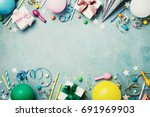 birthday party banner or... | Shutterstock . vector #691969903