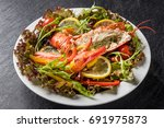 lobster 's fresh salad  | Shutterstock . vector #691975873