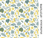 vector floral seamless pattern... | Shutterstock .eps vector #691976998