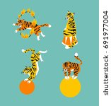 vector set of cute trained... | Shutterstock .eps vector #691977004