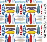 surfing seamless pattern with...   Shutterstock .eps vector #691982734