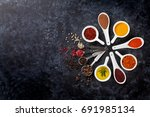 herbs  condiments and spices on ... | Shutterstock . vector #691985134