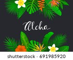 tropical foliage plants leaves... | Shutterstock .eps vector #691985920