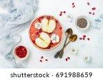 healthy breakfast. acai... | Shutterstock . vector #691988659