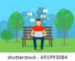 the young man on the bench... | Shutterstock .eps vector #691993084