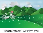 paper art of green landscape... | Shutterstock .eps vector #691994593