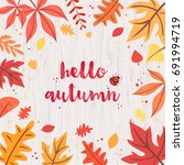 hello autumn card on gray... | Shutterstock .eps vector #691994719