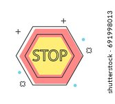 stop sign construction ...   Shutterstock .eps vector #691998013