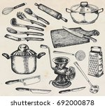 kitchenware set. beautiful... | Shutterstock .eps vector #692000878