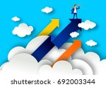 leadership concept with arrows... | Shutterstock .eps vector #692003344