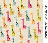 cute doodle seamless pattern... | Shutterstock .eps vector #692007784
