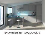 futuristic kitchen interior... | Shutterstock . vector #692009278