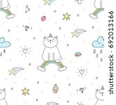 hand drawn seamless pattern... | Shutterstock .eps vector #692013166