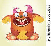 happy cartoon fluffy monster.... | Shutterstock .eps vector #692013313