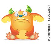 sad cartoon monster. vector... | Shutterstock .eps vector #692013874