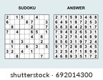 vector sudoku with answer 86....   Shutterstock .eps vector #692014300