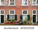 building facade and bicycle...   Shutterstock . vector #692015920