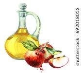 apple cider vinegar. watercolor ... | Shutterstock . vector #692018053