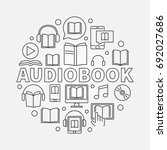 audio book round illustration   ... | Shutterstock .eps vector #692027686