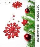 christmas background with fir... | Shutterstock . vector #692028280