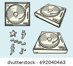 drawn turntables and funky... | Shutterstock .eps vector #692040463