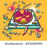 funky colorful drawn turntable   Shutterstock .eps vector #692040490