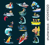 set of water extreme sports... | Shutterstock .eps vector #692045020