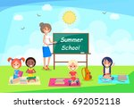summer school banner with... | Shutterstock .eps vector #692052118