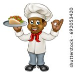 a black chef cartoon character... | Shutterstock .eps vector #692053420