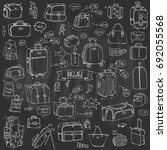 hand drawn doodle baggage icons ... | Shutterstock .eps vector #692055568