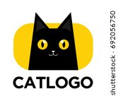 illustration of black cat logo. ... | Shutterstock .eps vector #692056750