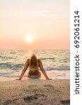 woman in white bikini on the... | Shutterstock . vector #692061214