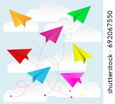 color paper plane with paper...   Shutterstock .eps vector #692067550