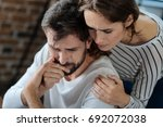 pleasant caring woman hugging... | Shutterstock . vector #692072038