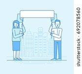 vector flat linear illustration ... | Shutterstock .eps vector #692078560