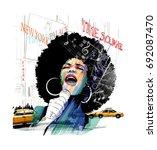 afro american jazz singer in... | Shutterstock .eps vector #692087470