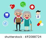 happy grandparents health care... | Shutterstock .eps vector #692088724
