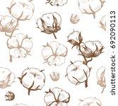 cotton plant . vector seamless... | Shutterstock .eps vector #692090113