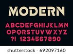 geometric font with shadow... | Shutterstock .eps vector #692097160