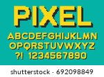 pixel retro font with shadow... | Shutterstock .eps vector #692098849