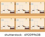 rows of prison cells  prison... | Shutterstock .eps vector #692099638