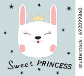 greeting card.cute bunny sweet... | Shutterstock .eps vector #692099860