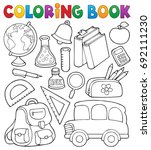 coloring book school related... | Shutterstock .eps vector #692111230