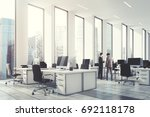 white open office with narrow... | Shutterstock . vector #692118178