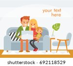 young family sitting on the... | Shutterstock .eps vector #692118529