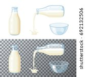 milk set. transparent glass... | Shutterstock .eps vector #692132506
