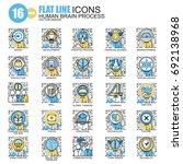 thin line human brain process ... | Shutterstock .eps vector #692138968