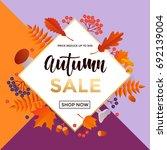 autumn gold sale text poster...   Shutterstock .eps vector #692139004