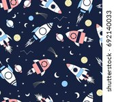 spaceship  pattern illustration ... | Shutterstock .eps vector #692140033