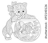 coloring page of kitten... | Shutterstock .eps vector #692140126